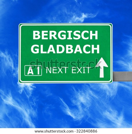 BERGISCH GLADBACH road sign against clear blue sky