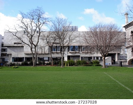 Berkeley library, modern brutalist building in Dublin - stock photo