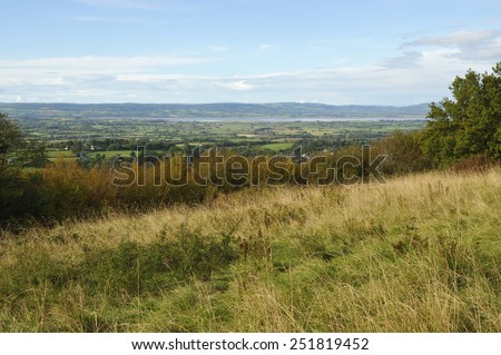Berkeley Vale & River Severn viewed from Stinchcombe Hill - stock photo