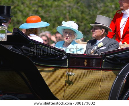 BERKSHIRE - JUN 18, 2015: Queen Elizabeth II, Prince Philip, Princess Beatrice and Prince Andrew attend Royal Ascot day three on Jun 18, 2015 in Berkshire - stock photo