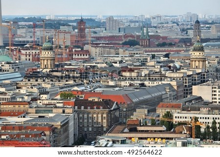 Berlin aerial view - Germany capital city architecture.