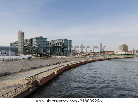 BERLIN - APIRL 17, 2013 : view of the Berlin Hauptbahnhof station building from the Spree, considered the biggest train station in Europe, opened in 2006 on APIRL 17, 2013 in Berlin, Germany.