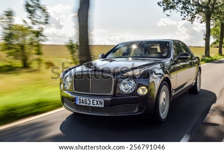 BERLIN - AUGUST 2014: Bentley Mulsanne at the test drive event for automotive journalists from Eastern Europe. - stock photo