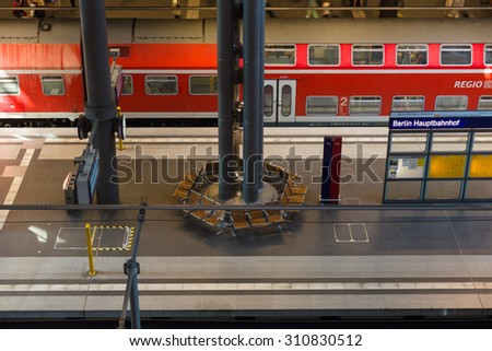 BERLIN - AUGUST 08, 2015: Berlin Central Railway Station. Top view of the platform. The central station of Berlin - the largest and modern railway station of Europe.