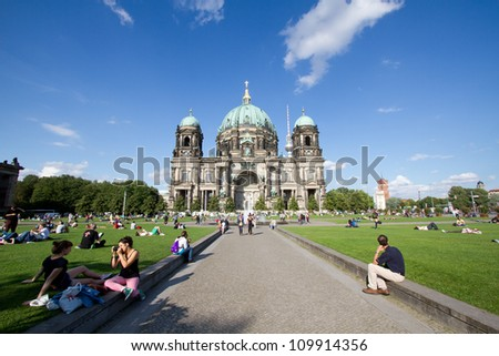 BERLIN - AUGUST 6: Berliner Dom,or Berlin Cathedral on August 6, 2012. It was built between 1895 and 1905. The current building replaced in 1894. - stock photo