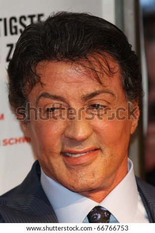 BERLIN - AUGUST 06: Sylvester Stallone attends the Premiere of The Expendables. August 6, 2010 in Berlin, Germany.