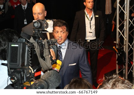 BERLIN - AUGUST 06: Sylvester Stallone attends the Premiere of The Expendables. August 6, 2010 in Berlin, Germany. - stock photo