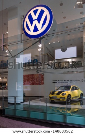 BERLIN - AUGUST 03: Volkswagen dealership on Friedrichstrasse. Volkswagen is a German multinational automotive manufacturing company, August 03, 2013, Berlin, Germany