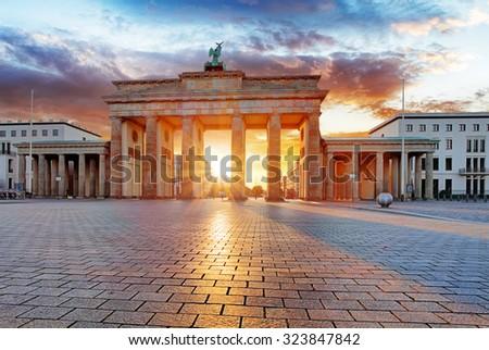 Berlin, brandenburg at sunrise, Germany - stock photo