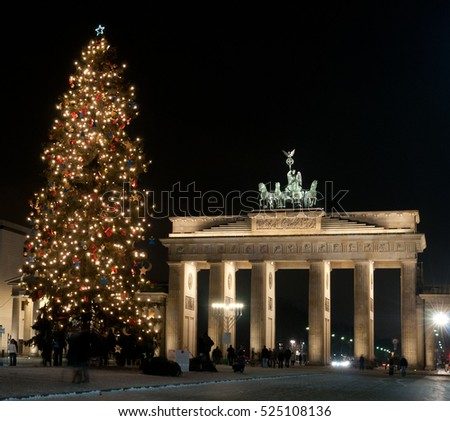 Berlin Brandenburg Gate with Christmas tree