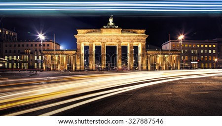 Berlin Brandenburger Tor at night - stock photo