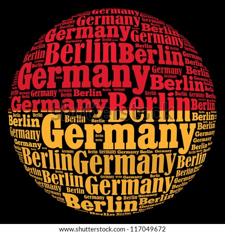 Berlin capital city of Germany info-text graphics and arrangement concept on black background (word cloud) - stock photo