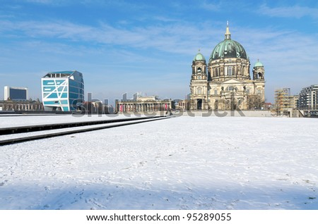 Berlin Cathedral (Berliner Dom) and Humboldt Box in Winter - stock photo