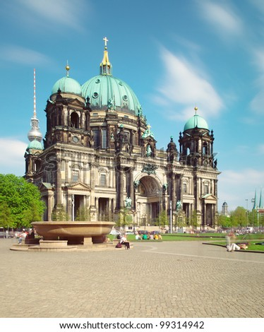 Berlin Cathedral (Berliner Dom), famous landmark in Berlin, Germany at sunny day with blue sky