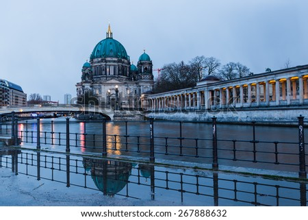 Berlin Cathedral (Berliner Dom) Long Exposure with blurred sky and river, famous landmark in Berlin City, rainy morning - stock photo