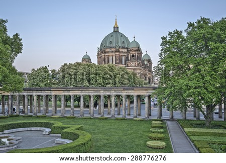 Berlin Cathedral (Berliner Dom) on Museum Island (Museumsinsel) in Spring, Berlin, Germany, Europe, HDR  - stock photo