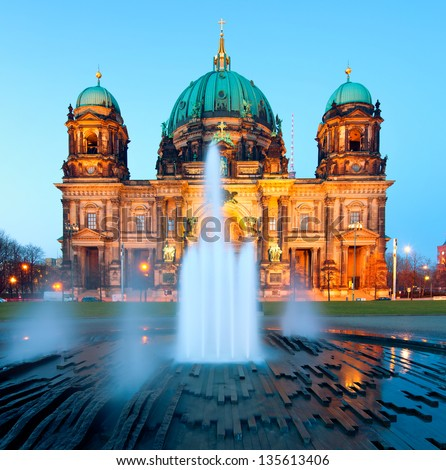 Berlin Cathedral (Berliner Dom) panorama at Night, famous landmark in Berlin City, Germany at night - stock photo