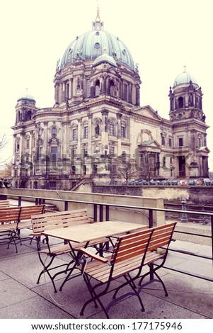 Berlin Cathedral Church. German Berliner Dom. A famous landmark - stock photo