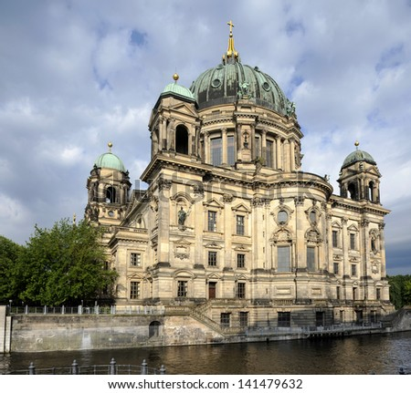 Berlin Cathedral, or Berliner Dom, on river Spree