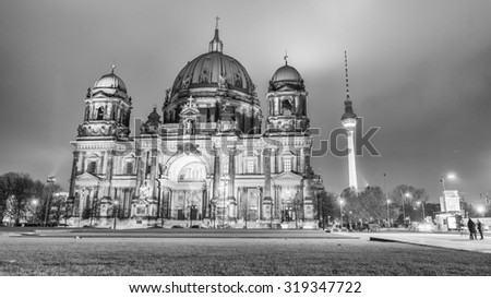 Berlin Cathedral with city aerial skyline at night. - stock photo