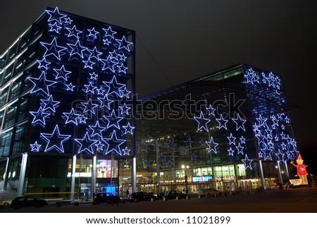 berlin central train station in xmas illumination - stock photo