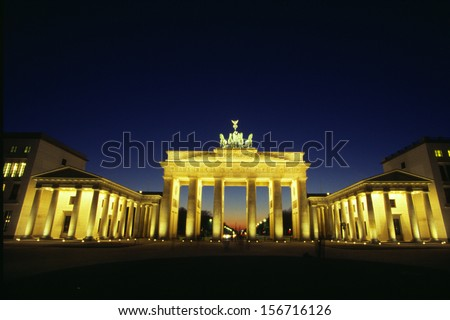 BERLIN - CIRCA OCTOBER 2003: the Brandenburg Gate in Berlin.