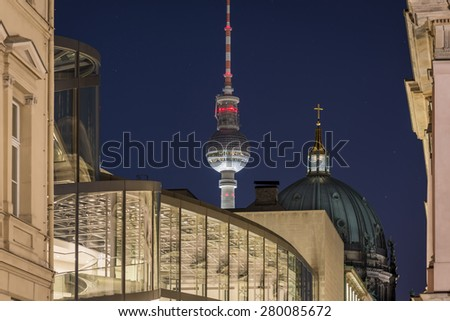 Berlin Cityscape with TV Tower (Fernsehturm) and Berlin Cathedral (Berliner Dom) at night, Berlin Mitte, Germany, Europe - stock photo