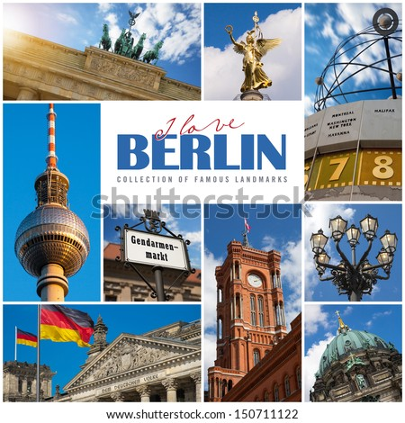 Berlin collage with the city's most famous landmarks - stock photo