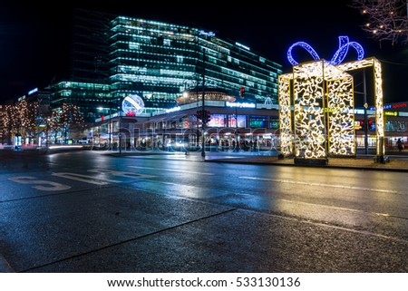BERLIN - DECEMBER 07, 2016: The famous shopping street of West Berlin, Kurfurstendamm in the Christmas illuminations.