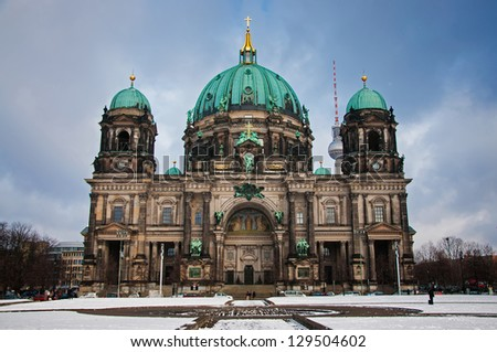 Berlin Dom in winter day - stock photo