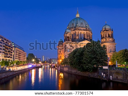Berlin Dome after sunset with river spree and deep blue sky - stock photo