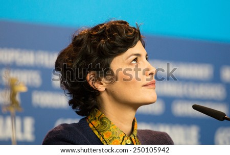 BERLIN- FEBRUARY, 05: Actress Audrey Tautou. International Jury of Berlinale. Press Conference at Hyatt Hotel, February, 05, 2015 in Berlin, Germany - stock photo