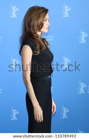 BERLIN - FEBRUARY 11: Angelina Jolie attends photocall for the premiere of the movie  In - The Land Of Blood And Honey - at the  62. Berlinale at  Hotel Hyatt in Berlin am 11.02.2012 - stock photo