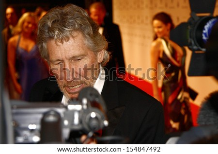 "BERLIN-FEBRUARY 10, 2009 : Roger Waters (singer of the Band ""Pink Floyd"") at the ""Cinema for Peace Gala"", Gendarmenmarkt, Berlin. - stock photo"