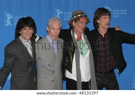 BERLIN - FEBRUARY 7: Rolling Stones singer Mick Jagger  and  Keith Richards pose at the 'Shine A Light' Photocall as part of the 58th Berlinale Film Festival  on February 7, 2008 in Berlin, Germany - stock photo
