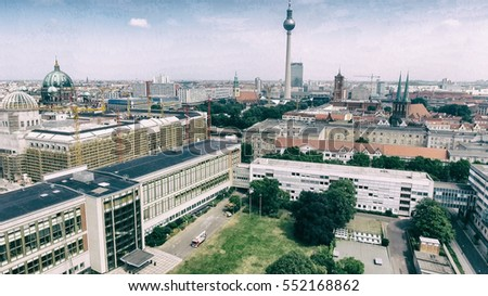 Berlin, Germany. Aerial view of Cathedral and TV Tower.