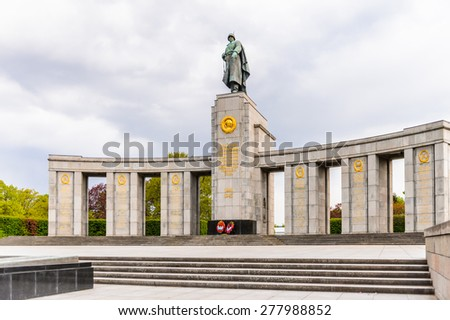 BERLIN, GERMANY - APR 30, 2015: Soviet War Memorial (Tiergarten) in Berlin, Germany. 2015 is the 70th anniversary of the end of the World War II - stock photo