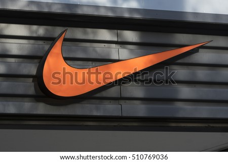 Berlin, Germany - April 26, 2016: Nike brand logo. Nike is a global sports clothes and running shoes retailer. Nike stores are located all over the world