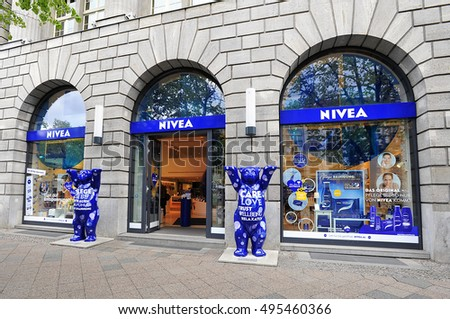 BERLIN,GERMANY-APRIL 28:NIVEA store on April 28,2016 in Berlin,Germany.Nivea  is a German personal care brand that specializes in skin- and body-care.