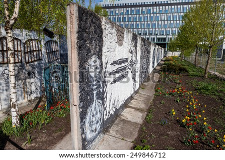 BERLIN, GERMANY - APRIL 14: Parliament of trees (German Parlament der Baeume) in  in Berlin on April 14, 2009. Its a memorial for the victims at the Berlin wall.  - stock photo