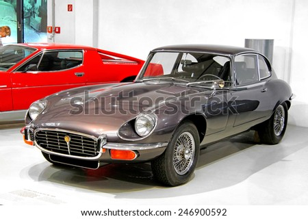 BERLIN, GERMANY - AUGUST 16, 2014: British retro sports car Jaguar E-Type in the German Museum of Technology (Deutsches Technikmuseum Berlin). - stock photo