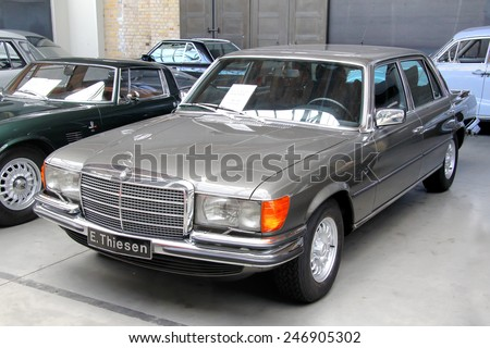 BERLIN, GERMANY - AUGUST 12, 2014: German classic vehicle Mercedes-Benz W116 S-class in the museum of vintage cars Classic Remise. - stock photo