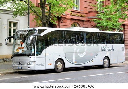 BERLIN, GERMANY - AUGUST 16, 2014: Grey coach Mercedes-Benz O350-15RHD Tourismo at the city street. - stock photo