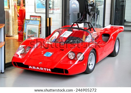 BERLIN, GERMANY - AUGUST 12, 2014: Italian race car Abarth in the museum of vintage cars Classic Remise. - stock photo