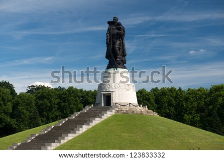 BERLIN, GERMANY - AUGUST, 02: Memorial of the second world war and russian soldiers in Treptower park, Berlin on August 02, 2012. It opened on May 8, 1949, as the central war memorial of East Europe. - stock photo