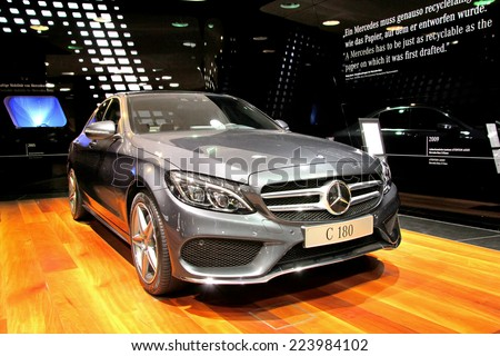 BERLIN, GERMANY - AUGUST 16, 2014: Modern german car Mercedes-Benz W205 C180 at the Mercedes-Benz showroom. - stock photo