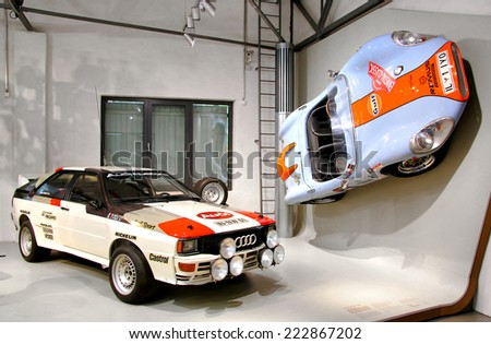 BERLIN, GERMANY - AUGUST 16, 2014: Retro sports cars Audi Quattro and Colani GT in the German Museum of Technology (Deutsches Technikmuseum Berlin). - stock photo