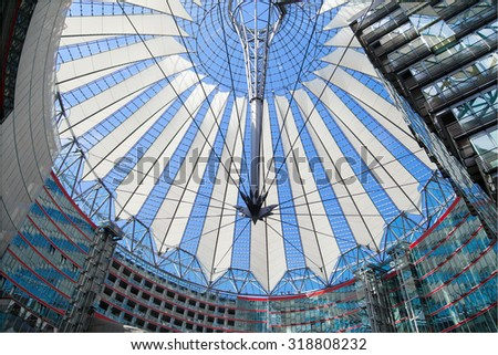 BERLIN, GERMANY - AUGUST 5: Sony Center in Potsdamer Platz, Berlin, Germany. It is a building complex, designed by Helmut Jahn and Peter Walker and sponsored by Sony, opened in 2000 year.