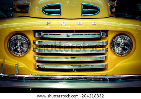 BERLIN, GERMANY - circa AUGUST 2012: 1948  Ford F-1 Pickup Front - stock photo