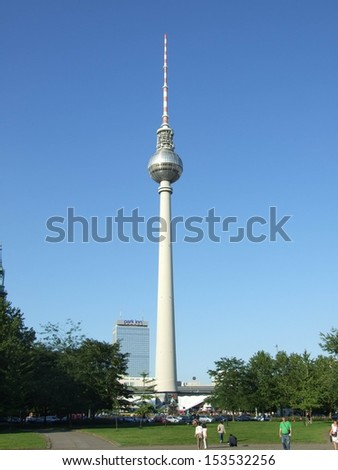 BERLIN, GERMANY - CIRCA AUGUST 2007: The TV tower and the hotel on the Alexander square circa August 2007 in Berlin, Germany.